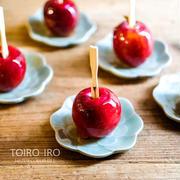 おやつに、りんご飴。