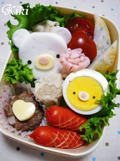キャラ弁**はんぺんクマちゃんと卵くまちゃん