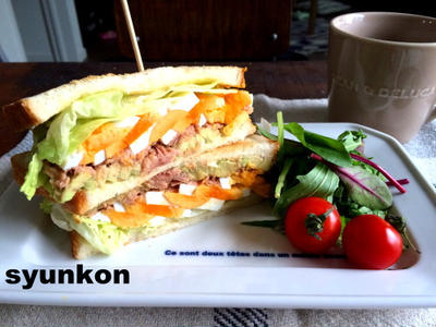 ヘブンズパスポートと、アボカドとゆで卵とツナのサンドイッチで朝ごはん