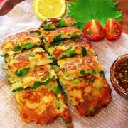 カリっ!とろっ〜!もっチーズ!ニラとキムチの豆腐チヂミ!