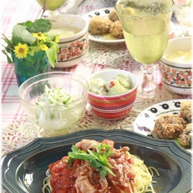 【レシピ】レンチン豚小間トマトソースパスタ。と 献立  と 雨あがり。