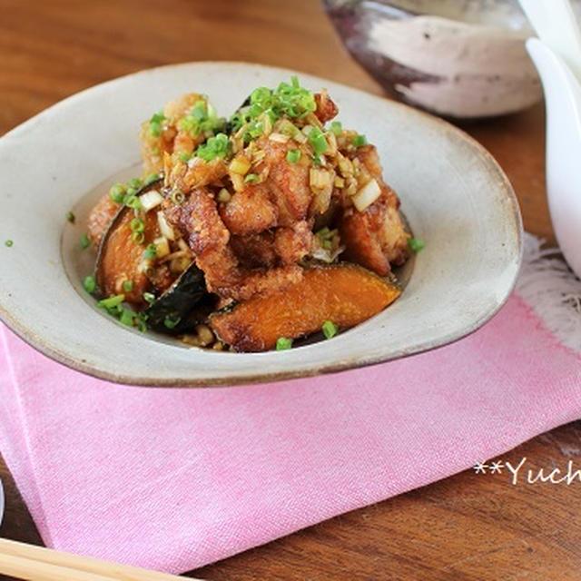 鶏とかぼちゃの黒酢ネギソース