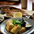 揚げなすと高野豆腐のオランダ煮(麺つゆ)。あじ白醤油干し。