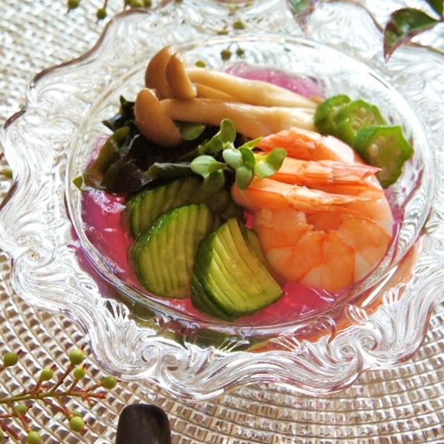 オウチで会席料理『和田倉』風の前菜☆白だし漬け海老と野菜の酢の物ゼリー寄せ。
