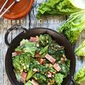 静岡産のリーフサラダ菜とナッツのアヒージョ