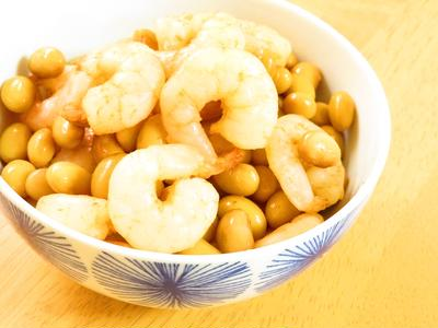 お弁当やおつまみに☆えびと大豆の旨煮