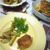 ひき肉とパン、チーズを使ったオーブン料理