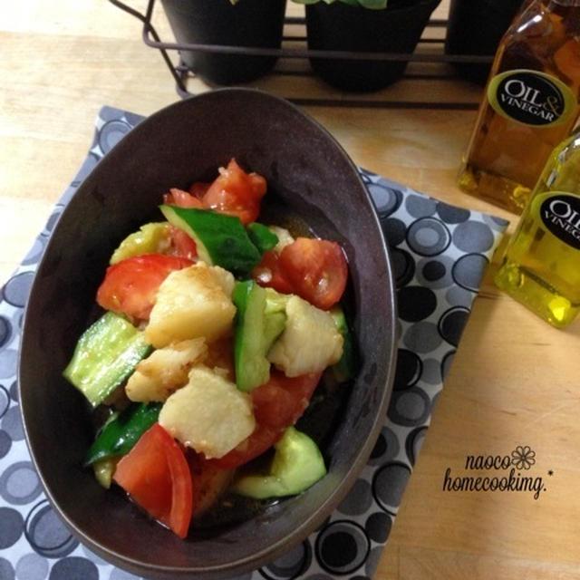 たたいて*炒めて〜簡単♪山芋と胡瓜と トマトのサラダ とお知らせ といただきもの☆