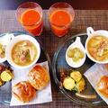 久々に出会えた胡桃パンうまい!~キャベツとベーコンのおかずスープ~ by みなづきさん