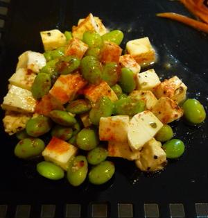 枝豆とモッツァレラチーズの前菜