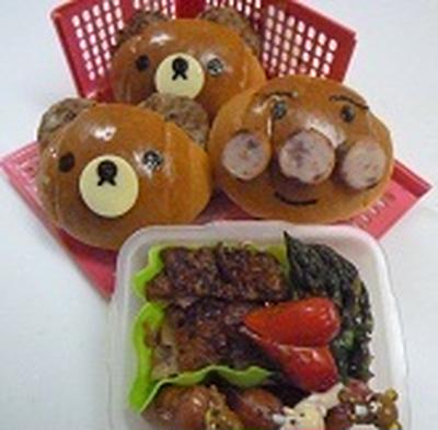 ロールパンでリラックマとアンパンマン~~♪♪  飾り巻き寿司レッスン6月 カエル