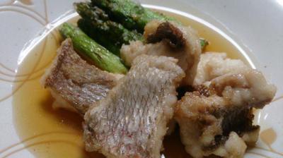 野郎飯流・鯛とアスパラガスの揚げもん、銀餡がけ