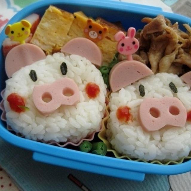 ぶたさんの弁当(キャラ弁)(幼稚園)