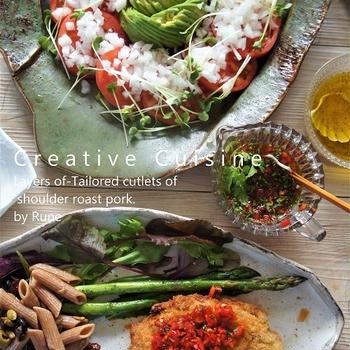 米油で満点レシピ♥ブランド#和豚もちぶた肩ロース#のミルフィーユカツレツ&パプリカ紫蘇ソース