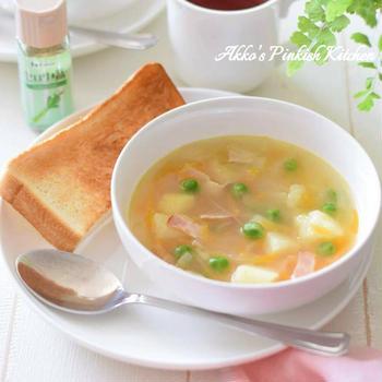 【スパイス大使】ハウス『セロリ塩』で作る春野菜スープの朝ごはん♡焼き立てトーストにピッタリ!