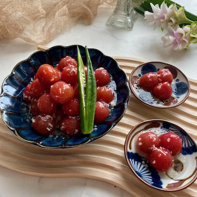 福島県産チェリートマトと新しょうがの白だしジュレ