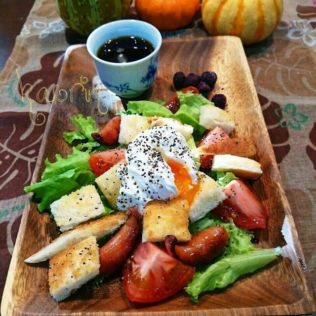 ワンプレート朝食♪パンサラダ★ポーチドエッグのせ