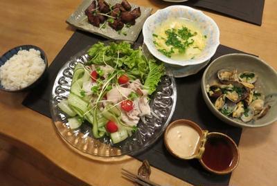 豚しゃぶサラダ仕立ての晩ご飯 と 南天の花って知ってますか?