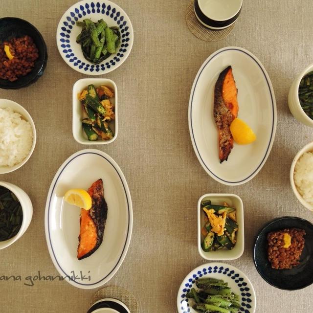 西京焼きと納豆で朝食を。