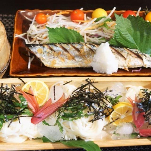■THE.朝ご飯【秋刀魚の塩焼きと冷や麦】ジリジリと朝から暑い朝