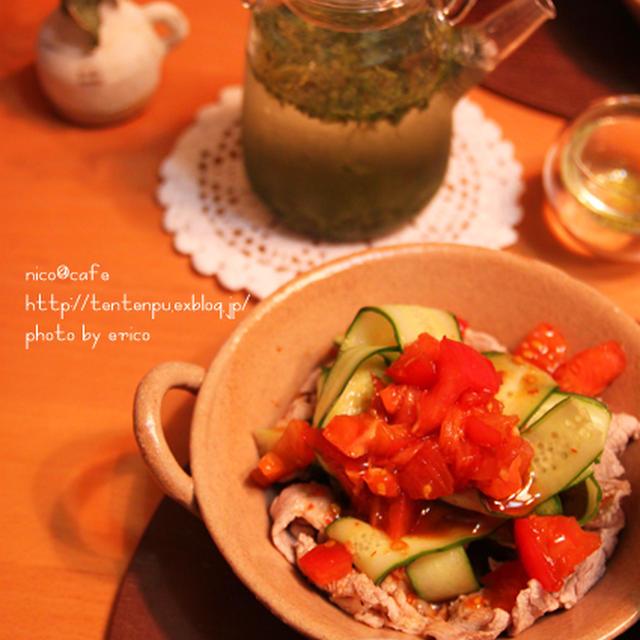 夕食☆ピリ辛トマトとヒラヒラきゅうりの冷しゃぶ