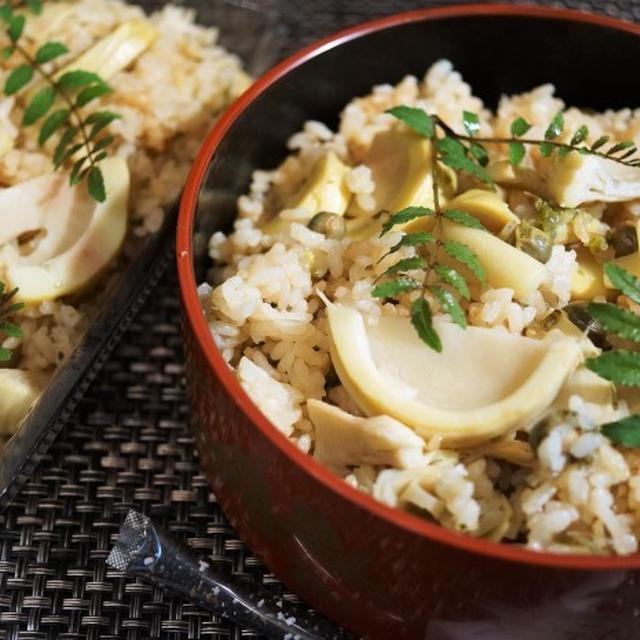 ■晩ご飯【竹の子・グリンピース・塩昆布の炊き込みご飯】簡単で美味しい!!