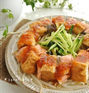 レンジで6分!ご飯が進む〜♡鮭と厚揚げのおろしだれ♡タレが良く絡むコツ★
