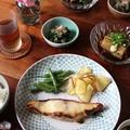 真鯛の西京焼き・プレート と なすの冷やし鉢。