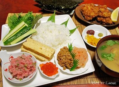 父の日のお祝いは手巻き寿司とKFC風フライドチキン