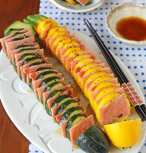 レンジで5分ズッキーニとベーコンの挟み蒸し柚子胡椒風味☆簡単ヘルシーおつまみ