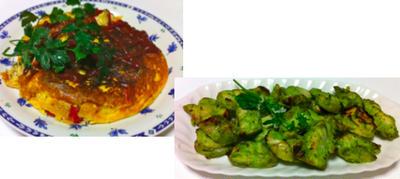 チキンバジルソテー、ズッキーニのオムレツ、カニカマと豆腐煮込み