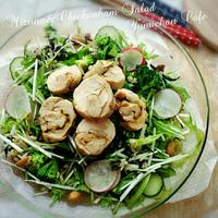 ♡ガーリックカレー風味の鶏ハム&サラダ用ブラウンライスde作る♪♡デリ風♡水菜&鶏ハムのサラダ♡