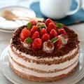 バレンタインデコレーションケーキ-スポンジケーキ・18cm(プレーン・チョコ)。