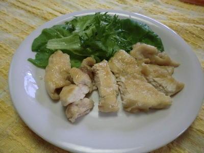 鶏の照り焼きとほうれん草と油揚げのカリカリサラダ