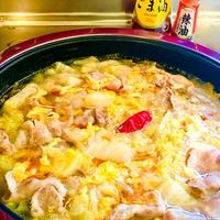 辣油でピリ辛♪白菜と豚肉のフワフワたまごスープ♡