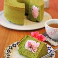 しっとり抹茶の豆乳シフォン☆桜クリーム入り