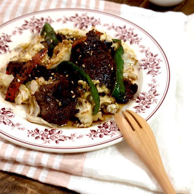 ストック豚ハラミ漬けで♪♪味肉野菜炒め