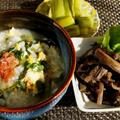 ■菜園野菜料理【ほうれん草入り卵粥と芋茎の甘辛炒め煮】です♪