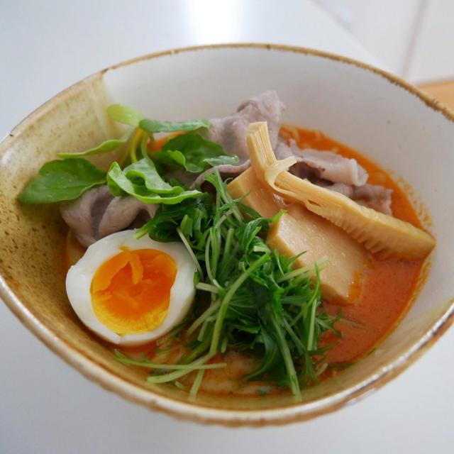 冷しゃぶと水菜入り、冷たい担々麺