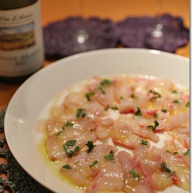 鯛のカルパッチョ 濃縮葡萄酢ソース