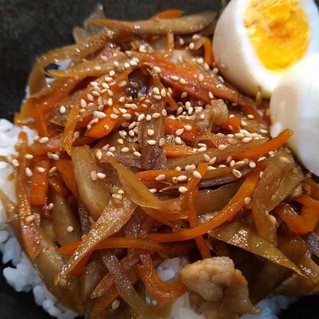 超簡単☆豚肉きんぴらごぼう丼♪