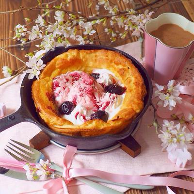 桜のダッチベイビーの朝ごはん