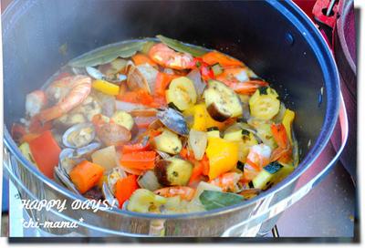 アウトドア料理★魚介と夏野菜のラタトゥイユ