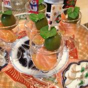 サーモンマリネと新漬けオリーブのピンチョス