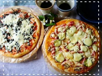 時間がない朝も一次発酵だけ~のピザなら簡単♡手捏ねピザモーニング♬( *´艸`)