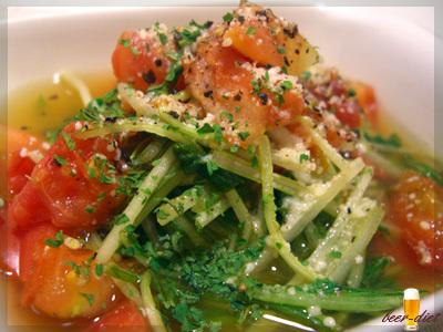 水菜とトマトのしょうがコンソメ煮