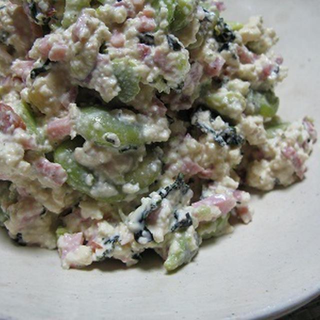 ソラマメと豆腐のサラダ(レシピ) 花ワサビのご飯