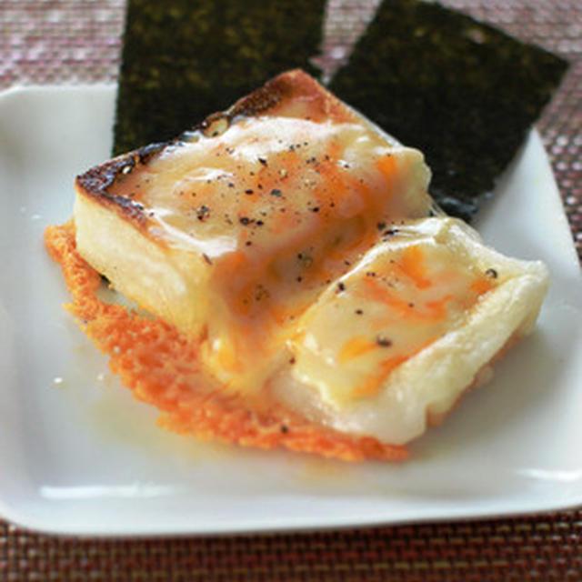 おもちのアレンジレシピ②のりもっちーず(おもちのチーズ焼き、のり添え)