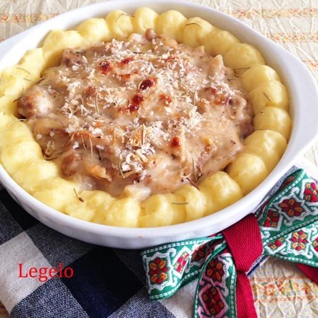 クリスマスに☆簡単♪ポテトとハーブクリームチキンのグラタン