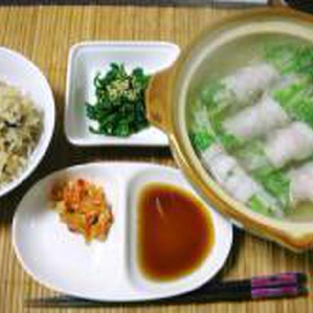 (2/8)サンマ缶の炊込みご飯・水菜と大根の豚巻き鍋・春菊の胡麻和え